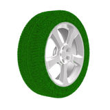 Disk wheel from grass. Isolated 3D Royalty Free Stock Photo