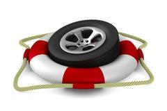 Disk wheel into lifebuoy on white background Stock Photos