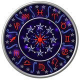 Disk with zodiac signs. A view of a blue disk with all of the 12 astrological zodiac signs Royalty Free Stock Photography