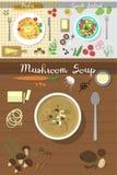 Disken för soppaplatta på soppa för frukosten för äta för illustration för vektor för bästa sikt för tabell sund äter lunch målbe stock illustrationer