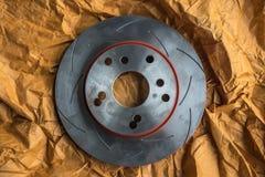 Diskettbromsen är det en del av bilbruk för stopp bilen Royaltyfri Fotografi