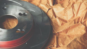 Diskettbromsen är det en del av bilbruk för stopp bilen Royaltyfri Bild