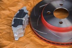 Diskettbromsen är det en del av bilbruk för stopp bilen Royaltyfri Foto