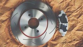 Diskettbromsen är det en del av bilbruk för stopp bilen Arkivbilder