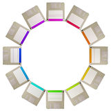 Diskette circle. A circle consisting of twelve diskettes stock images