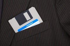 Diskette in einer Tasche Lizenzfreie Stockfotografie