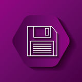 Diskette icon image. Hexagon button with diskette  icon over purple background. colorful design.  illustration Royalty Free Stock Photo