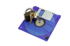 Diskette  with a lock Royalty Free Stock Photos