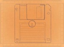 Diskette - Retro Blauwdruk stock afbeeldingen