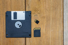 Diskette ,SD card, Micro SD card and memory Royalty Free Stock Photos