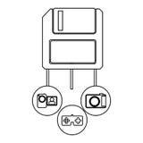 Diskette server icon stock. Illustration design Royalty Free Stock Photos