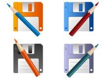 Diskette und Bleistift Stockbild