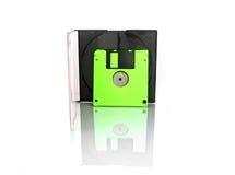 Diskette und Kasten auf weißem Hintergrund Lizenzfreies Stockbild