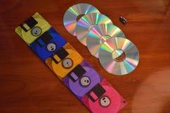 Disketten, CDs und ein greller Antrieb Stockfoto