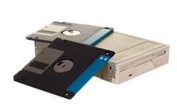 Diskettenlaufwerk mit Disketten Stockbild