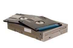 Diskettenlaufwerk mit Disketten Stockfotografie