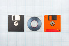 Diskettes en mini-CD Stock Afbeelding