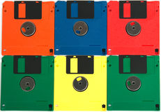 Diskettes Of Different Colors Stock Photography