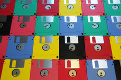 3 5 diskettes van diverse kleuren royalty-vrije stock foto's