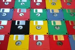 3 5 diskettes van diverse kleuren stock foto's