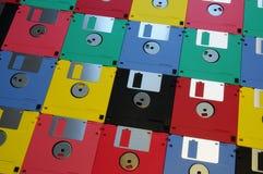 3 5 diskettes van diverse kleuren stock foto