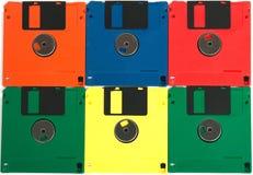 Diskettes van verschillende kleuren Stock Fotografie