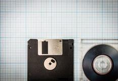 Diskettes y mini-CD fotografía de archivo libre de regalías