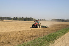 Disking the soil before sowing of grain Stock Photos