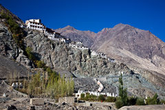 Diskit修道院, Nubra谷, Leh拉达克,查谟和克什米尔,印度 免版税库存图片