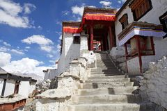 Diskit kloster i den Nubra dalen, Ladakh, Indien Arkivfoto