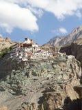 Diskit monasteru panorama przy słonecznym dniem w Nubra dolinie Zdjęcie Stock