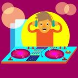 Diskjockey oder DJ mit Ausrüstungs-Karikatur Stockfotografie