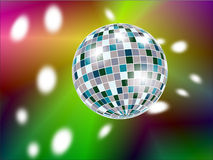 Disko ball. Shiny disco ball with reflections on multi-coloured background Stock Photo