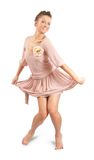 Disko girl in luxury silk dress over white stock photography