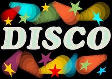 Diskoaffischtavla med neonljus och stjärnor Arkivfoton