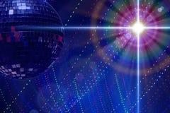 Diskobakgrund med diskobollen och en variation av effekter Arkivbilder