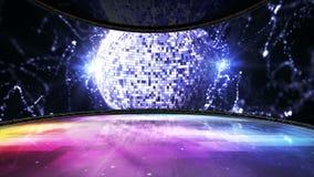 Diskoboll, dansrumanimering, tolkning, bakgrund, ögla, 4k stock video