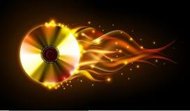Diskobrandbakgrund Brännande Disck Arkivfoto