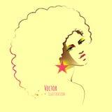 Diskoflicka med den afro frisyren Royaltyfri Foto