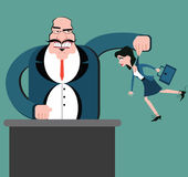 Diskriminering av arbetare Dockaaffär Framstickandekontrollanställda royaltyfri illustrationer