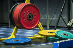 Disks from barbell on the rack Stock Photography