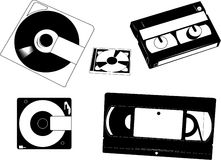 Disks and Cassettes. Set of old VHS cassettes, Minidisks  and 8 mm camecorder tape Stock Photos