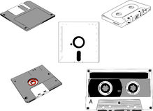 Disks and Cassettes Royalty Free Stock Images