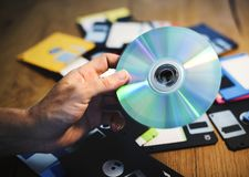 Disks and floppy disks Royalty Free Stock Photo