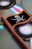 disksdvdflaggan piratkopierar skallen Arkivbild