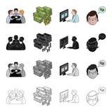 Diskussion über Geschäftsmänner, Geld, Videokonferenz, Geschäftsidee Gesetzte Sammlungsikonen der Geschäftskonferenz in der Karik Stockfoto