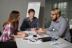 Diskussion über Unternehmenspläne Stockfotografie