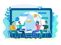 Diskussion av aktuella uppgifter av anställda i kontoret med vektor illustrationer