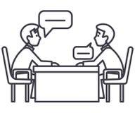 Diskussion av två partners, intervju, förhör, undersökningsvektorlinje symbol, tecken, illustration på bakgrund royaltyfri illustrationer