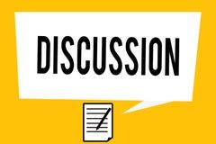 Diskussion för handskrifttexthandstil Begreppsbetydelseprocess av att tala om något för att som når ett beslut royaltyfri illustrationer